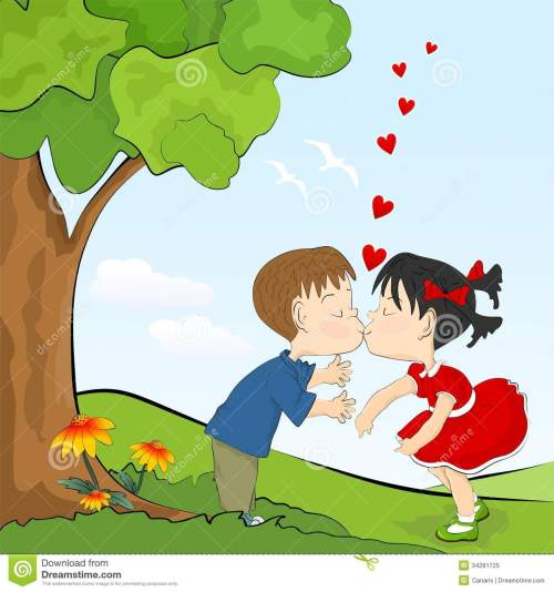 kids-romance-cartoon-little-boy-girl-kissing-34281725