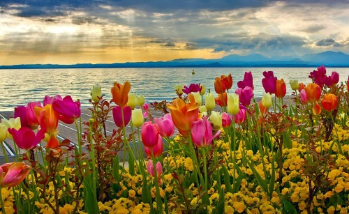 Spring Sunset At Lake Garda Desktop Background